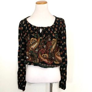 Vintage 1970s Boho Floral Top Small